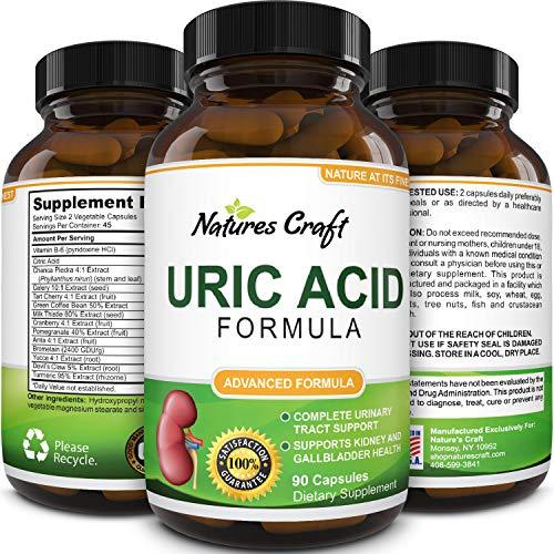 Natures Craft Uric Acid Formula - Uric Acid Detox Cleanse Pure Green Coffee Bean Chanca Piedra Vitamin B-6 Gallbladder Kidney Health Support Supplement 90 Veggie Capsules