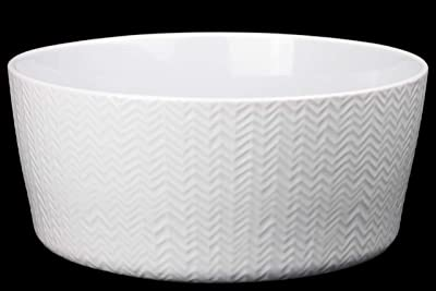 Benzara BM180860 Ceramic Wave Design Round Bowl, White
