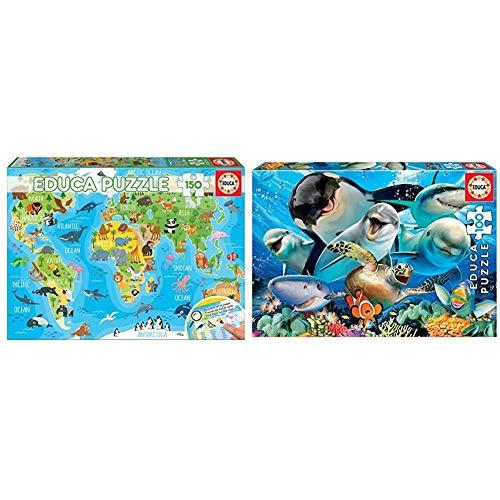 Educa - Mapamundi Animales Puzzle Infantil de 150 Piezas, a Partir de 6 años (18115) + Puzzle Infantil Selfie Bajo el Agua, 100 Piezas, Color Variado, Color/Modelo Surtido (18062)