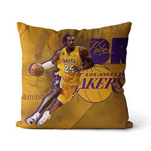 Kobe Bryant Funda de Almohada Ligera 50x50cm Basketball Hall Fame Kobe Bryant Adecuado para Cama y sofá Funda de Almohada, sin Relleno