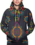 Men's Hoodie Vector Hand Drawn Ethnic Seamless Pattern with Tribal Abstract Elements Sweatshirt XXL