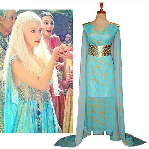 GACOSPLAY Juego de Tronos Daenerys Targaryen Cosplay Vestido de Fiesta Azul Qarth Cuello de Pico Mangas largas Traje de Cosplay,XL
