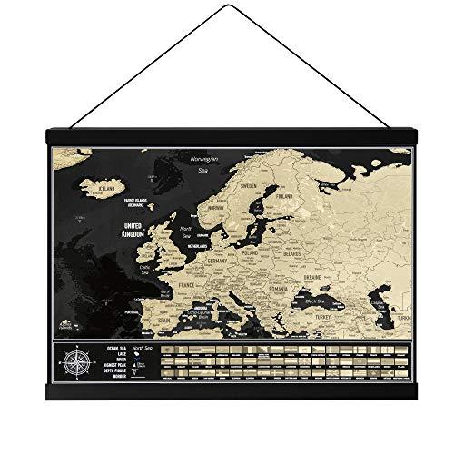 Mappa da grattare Europa con porta poster magnetico, Mappa da viaggio dell'Europa con bandiere nazionali, Prodotto in Europa, Dimensioni mappa 42 cm x 29,7 cm