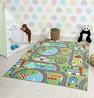 the carpet Happy Life Kindertapijt, speelkleed, wasbaar, straattapijt, stad, auto, groen, 200 x 290 cm