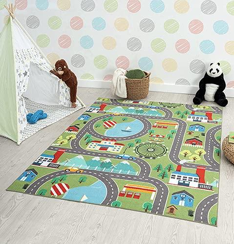 the carpet Happy Life Kinderzimmer, Kinderteppich, Spielteppich, Waschbar, Straßenteppich, Straße, Stadt, Auto, Grün, 120 x 160 cm