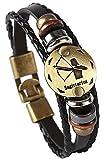 Hamoery Punk Alloy Leather Bracelet For Men Constellation Braided Rope Bracelet Bangle Wristband(Sagittarius)