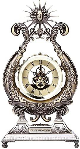 Mute Manto Reloj de mesa de metal Antiguo Reloj de escritorio con pilas para el hogar, sala de estar, decorativo, silencioso, retro, regalos creativos (color metálico)
