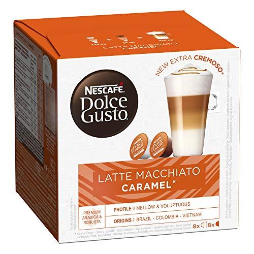 Nescafé Dolce Gusto Latte Macchiato Caramel - Café Gourmand - 96 Capsules (Pack de 6 boîtes x 16)