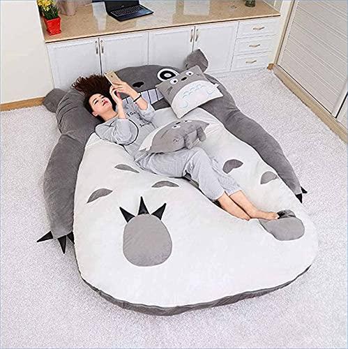 FBRNYQPM Colchón de Tatami Cómodo Plegable Totoro Lindo Doble Individual Colchón de Dormitorio Totoro Súper cómodo, Suave y Antideslizante, Mantiene el Calor,002,180 * 250