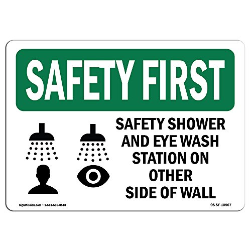 OSHA Safety First Sign - Safety Shower and Eye Wash Station with Symbol | Vinyl Label Decal | Protect Your Business, Work Site, Warehouse | Made in The USA