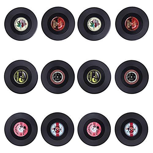 KEESIN Rutschfeste Vinyl Untersetzer, Retro CD Aufnahme Isoliert Kaffee Getränk Tasse Matte,12 Stück,Tippe A (Tippe B)