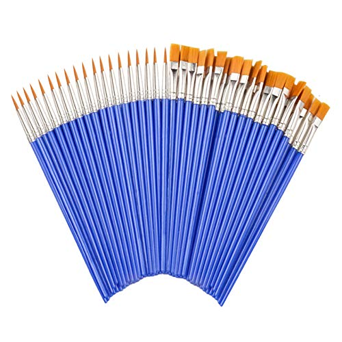 JOJODO Flat Paint Brushes Set,50 Pcs Art Paintbrushes for Kids/ Artists/Painters/Beginners/Students ,Short Plastic Handle,Nylon Hair Brushes for Acrylic Oil Watercolor Art Painting (25Flat +25Round#1)