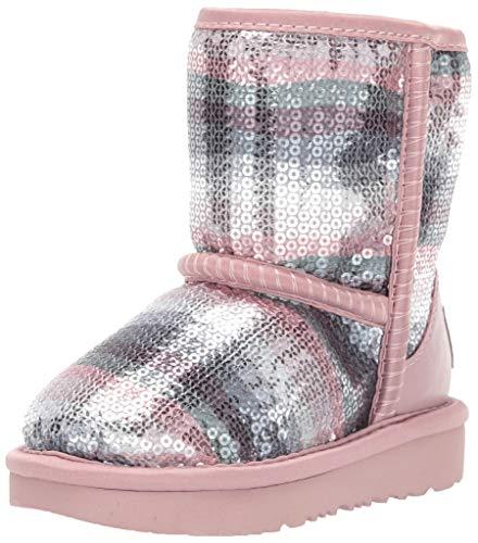 UGG Girls' Classic II Sequin Rainbow Fashion Boot, Crystal, 8 M US Toddler