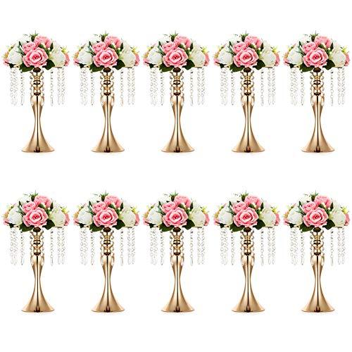 Nuptio 10 Pcs Versatile Metal Flower Arrangement Stand, 13.8in/35cm Height Elegant Wedding Centerpieces Flower Vase, Crystal Flower Stand for Wedding Party Dinner Event Restaurant Hotel Decoration