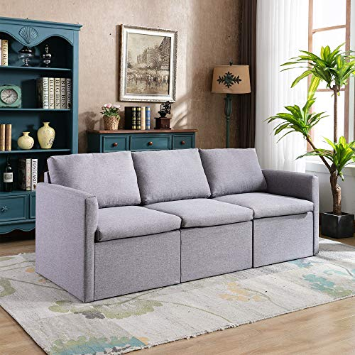 3 Seat Sofa Sets Convertible Sectional Sofa Couch with Modern Linen Fabric for Living Room or Apartment