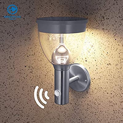 Solar Wall Light with Motion Sensor and Dust to Dawn Sensor LED Porch Lighting Fixture, Multiple Lighting Modes for Diverse Needs, Stainless Steel Outdoor Sconce 4000K Natural White