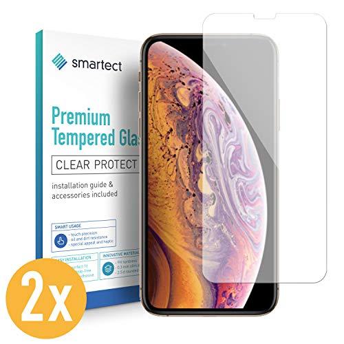 smartect Beschermglas compatibel met iPhone X/XS [2 stuks] - screen protector met 9H hardheid - bubbelvrije beschermlaag - antivingerafdruk kogelvrije glasfolie