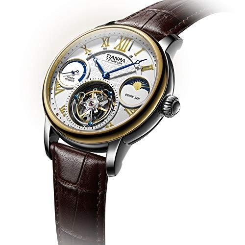 FNCUR Uhr Herren Business Watch, Koaxiale Tourbillon-Uhr, Mechanischer Wasserdichter Uhrengürtel, Energiestab-Anzeige, Schwarzer Gürtel (Color : Brown Belt)