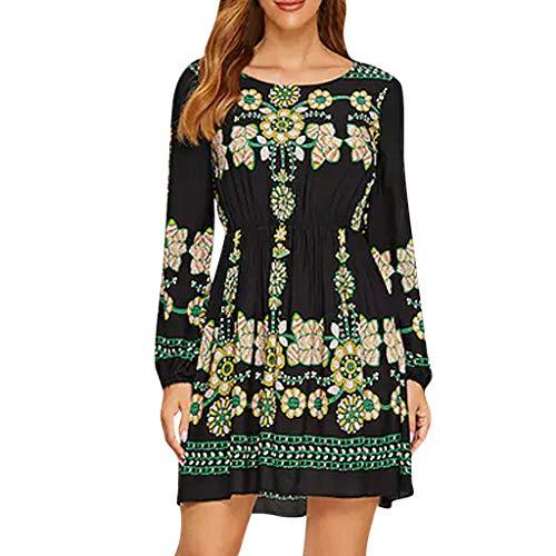 Azruma Vestidos Elegantes Floral Niña Mujer Otoño, Boho Chic Vestidos Tallas Grandes,Moda Cuello Redondo Vestidos, Cintura Vestido Coctel, Fiesta,Casual