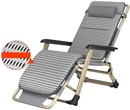 Sedia a Sdraio per Il Tempo Libero con Cuscini Sedia da Giardino reclinabile Resistente all'Usura Pieghevole Antiscivolo per Spiaggia Balcone Pausa Pranzo Supporto per Sedia 200 kg Grigio