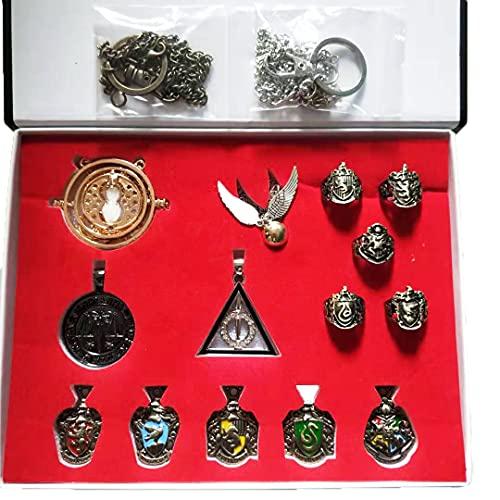 Set di 14 accessori per cosplay di Harry Potter, bacchetta magica convertitore di tempo clessidra collana ciondolo