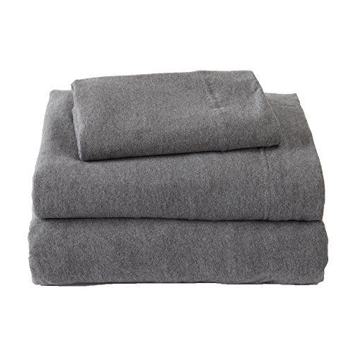 Jersey Knit Sheets. All Season, Soft, Cozy Full Jersey Sheets. T-Shirt Sheets. Jersey Cotton Sheets. Heather Cotton Jersey Bed Sheet Set. (Full, Charcoal)