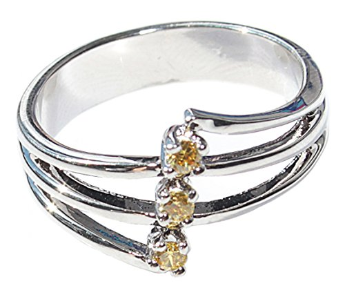 Free Engraving Of Your Choice! Ah! Jewellery Ladies Yellow Topaz AAA Grade Cubic Zirconium Ring. Rhodium Electroplated. Total Weight of 3gr. Brilliant Quality.