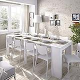 LIQUIDATODO  - Mesa consola extensible moderna y barata de 51 cm a 239 cm en blanco brillo
