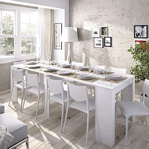 LIQUIDATODO  - Mesa consola extensible moderna y barata de 51 cm a 239 cm en blanco...