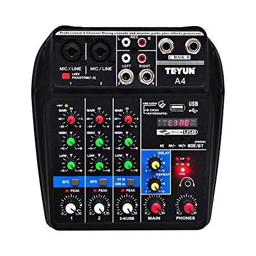 QQKLP DJ Mixer A4 Ton-Mischpult Bluetooth USB Platten Computer-Wiedergabe 48V Phantom Power Delay Repaeat Effect 4 Kanäle USB-Audio-Mixer