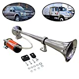 Lebogner 12V Single Trumpet Air Horn, For Truck, SUV, Car, Boat, Or Train With A Super Loud Powerful 150DB Compressor, Includes Basic Mounting Hardware (Does Not Include Relay, Switch, and Wiring Kit)