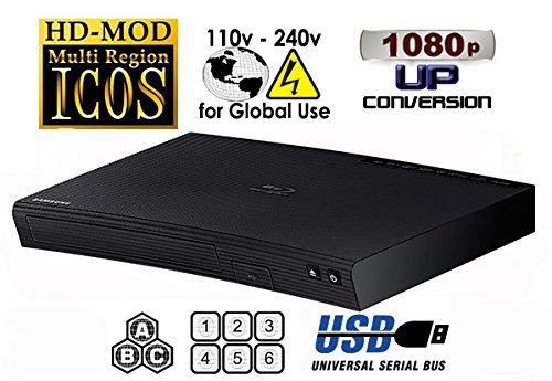 """NEW SAMSUNG BD-J5100 (Compact 12W"""" x 2H"""" x 8D"""") Multi Zone All Region Blu Ray DVD Player - 1 HDMI, 1 COAX, 1 ETHERNET CONNECTIONS + (6Feet HDMI Cable)"""