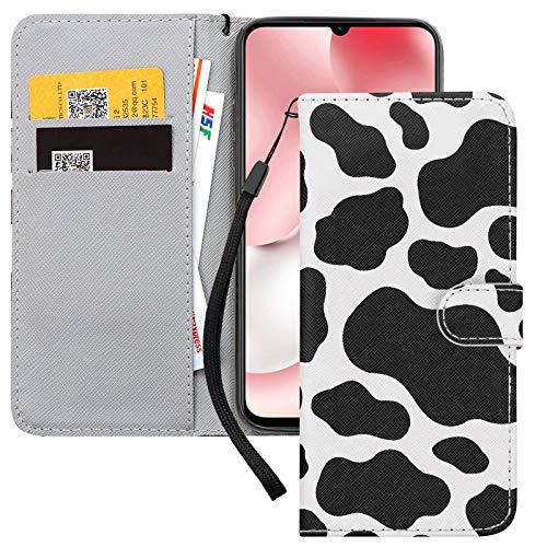 Pnakqil Hülle für Xiaomi Redmi Note 9 Pro, PU Leder Tasche Flip Klapphülle mit Kartenfächern Standfunktion Magnetverschluss Lederhülle Handyhülle Schutzhülle für Xiaomi Redmi Note 9 Pro 6,67'', Kühe