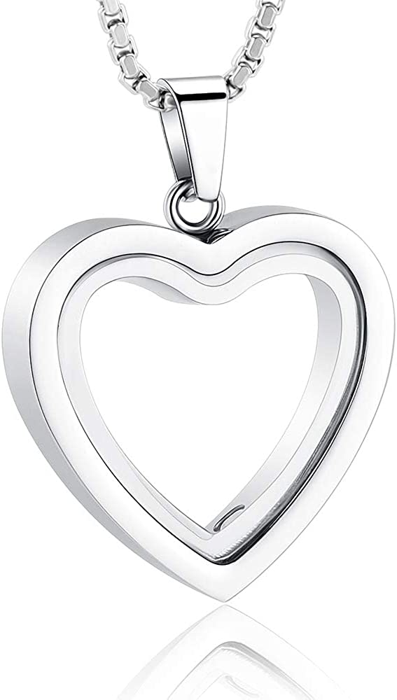Glass Cremation Jewelry Necklace for Ashes Heart Memorial Lockets for Ashes Stainless Steel Keepsake Urn Ashes Pendants