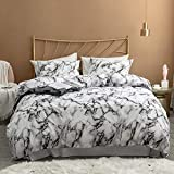 Argstar 3 Pcs King Duvet Cover Set, Marble Printed Bedding Sets, Black Grey and White Abstract Comforter Cover with Zipper Ties, Soft Lightweight Microfiber, 1 Duvet Cover and 2 Pillow Shams