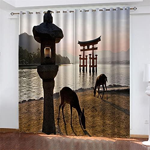 NQING Cortinas De Poliéster De Impresión Digital 3D De La Serie Elk, Cortinas De Sombreado Y Reducción De Ruido con Perforaciones 2xAN117xAL214cm