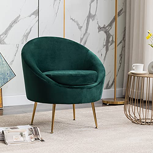 Wahson Velvet Armchair Occasional Tub Chair Modern Accent Chair with Gold Metal Legs,Tuffted Single Sofa Chair for Living Room Bedroom,Green
