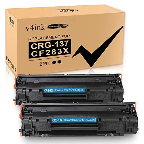 V4INK Compatible CRG137 83X Toner Cartridge Replacement for Canon 137 HP CF283X for Canon D570 MF216N MF244DW MF247DW MF249DW MF232W MF236N MF229DW MF227DW MF212W HP M225DW M201DW M127FW M125NW 2 Pack