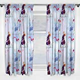 Frozen 2 Cortinas de diseño Oficial de Anna y Elsa de Disney Cualquier Dormitorio Infantil de 54 Pulgadas, Color Blanco