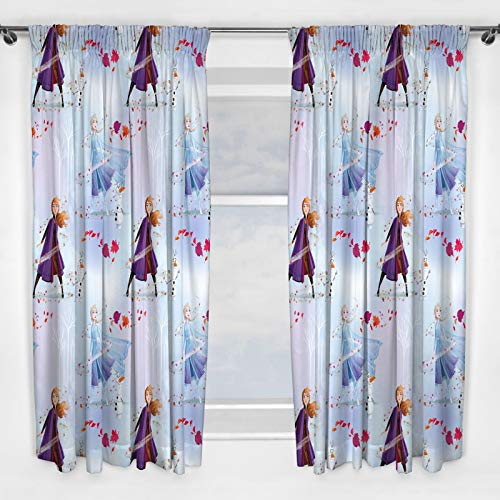 Frozen 2 Die Eiskönigin Vorhänge Disney Anna und ELSA Design, ideal für jedes Kinderzimmer, 137 cm, Weiß, 2 Stück