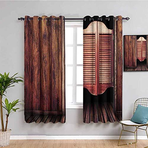 Western Decor Collection - Cortina de ventana (2 paneles), color negro
