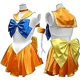 コスプレ 衣装 セーラー服 美少女戦士 コスチューム 豪華5点セット cos1038 (イエロー)