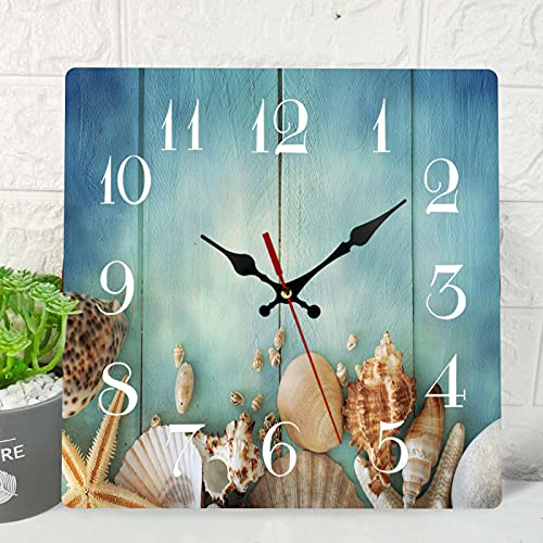 Wooden Wall Clock Silent Non-Ticking , Summer Fish Star Sea Shells Wooden Blue Beach Vintage Square Rustic Coastal Wall Clocks Décor for Home Kitchen Living Room Office, Battery Operated(12 Inch)