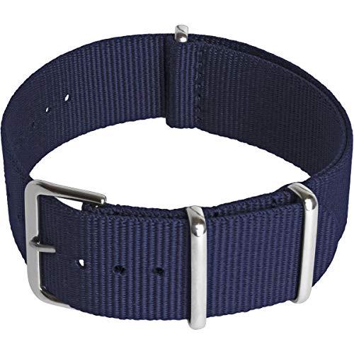 CampTeck U6944 - Nylon Ersatz Uhrenarmband Militär Uhrband (Breite 18|20|22|24mm) mit Verschlussschnalle aus rostfreiem Stahl für Spring Bar Uhren - Navy - 20mm