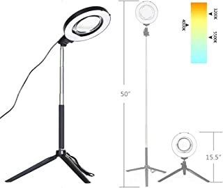 "Dimmable Ring Light with Adjustable Height Light Stand,Selfie Stick and USB Plug,6"" 3200K~5500K Beauty Table Top Lamp with..."