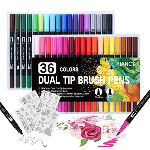 Pennarelli con Doppia Punta, 36 colori Dual Brush Pen con 4 Modello di Pittura, penne a doppia punta, Set di Penne a Doppia Punta per Colorare, Bullet Journal, Pittura, Calligrafia