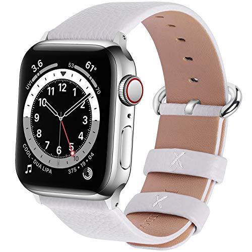 Fullmosa kompatibel mit Apple Watch Armband 44mm 42mm 40mm 38mm Series SE/6/5/4/3/2/1, Leder Ersatzarmband für iwatch original Band,Weiß 38mm(Series 4 40mm)