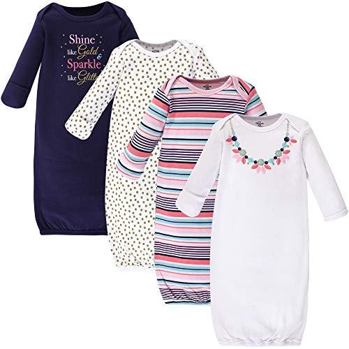 Little Treasure Unisex Baby Cotton Gowns, Sparkle Necklace, 0-6 Months
