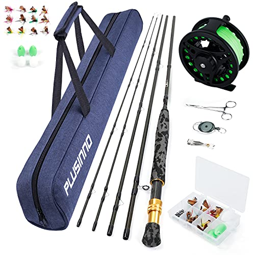 PLUSINNO Fly Fishing Rod and Reel Combos Includes4 Pc Graphite Fly Rod, Fly Reel, an Extra Rod Tip Section,and Other Fly Fishing Accessories,Portable Travel Fishing Bag for Starter and Expert Angler