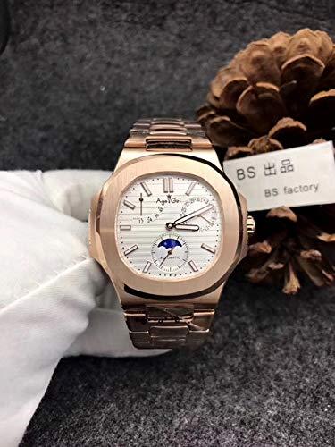 HNOLVH Neue Luxus Automatik Mechanische Herrenuhr Saphir Roségold Transparentglas Mondphase Uhren Schwarz Blau Roségold Weiß